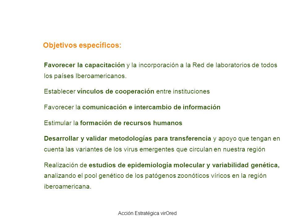 Objetivos específicos: Favorecer la capacitación y la incorporación a la Red de laboratorios de todos los países Iberoamericanos. Establecer vínculos