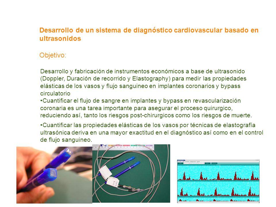 Desarrollo de un sistema de diagnóstico cardiovascular basado en ultrasonidos Objetivo: Desarrollo y fabricación de instrumentos económicos a base de