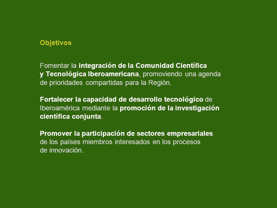Objetivos Fomentar la integración de la Comunidad Científica y Tecnológica Iberoamericana, promoviendo una agenda de prioridades compartidas para la R