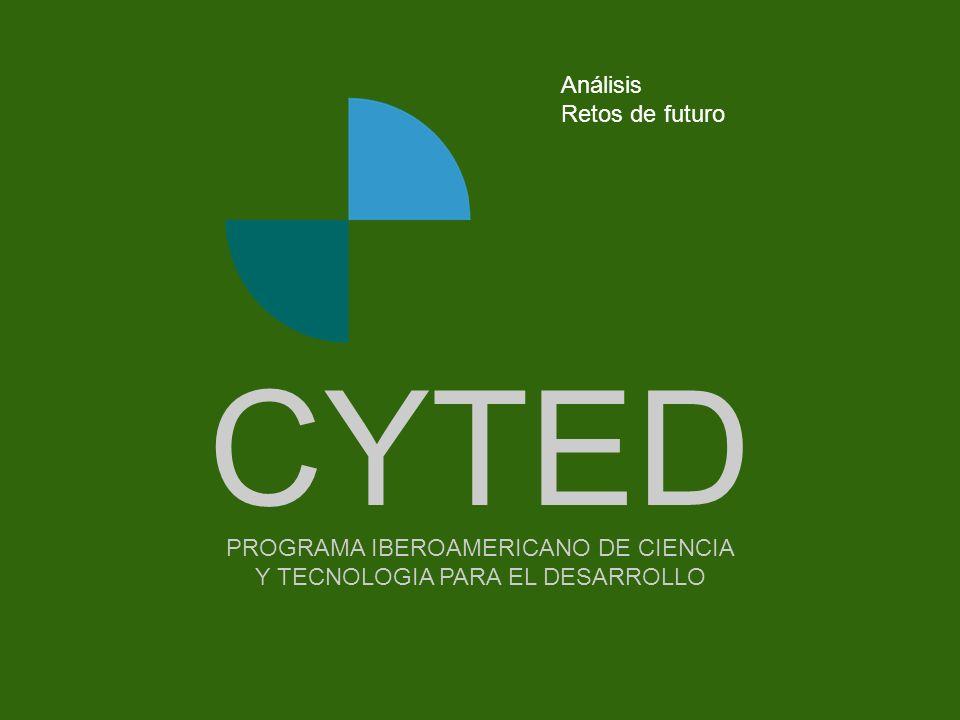 -- - - - - - - -Portada PROGRAMA IBEROAMERICANO DE CIENCIA Y TECNOLOGIA PARA EL DESARROLLO CYTED Análisis Retos de futuro