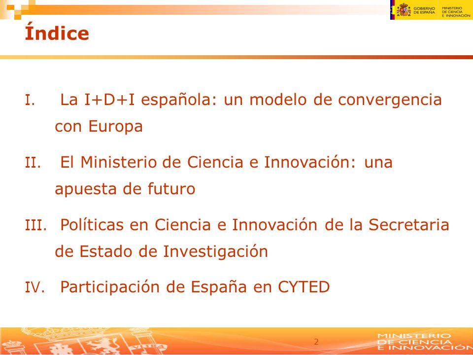 2 Índice I. La I+D+I española: un modelo de convergencia con Europa II. El Ministerio de Ciencia e Innovación: una apuesta de futuro III. Políticas en