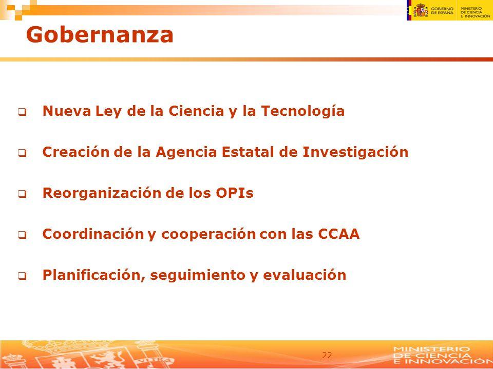 22 Gobernanza Nueva Ley de la Ciencia y la Tecnología Creación de la Agencia Estatal de Investigación Reorganización de los OPIs Coordinación y cooper