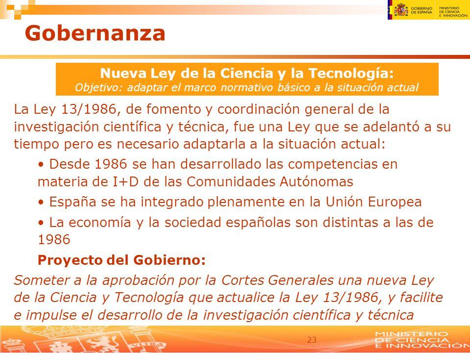 23 Nueva Ley de la Ciencia y la Tecnología: Objetivo: adaptar el marco normativo básico a la situación actual La Ley 13/1986, de fomento y coordinació