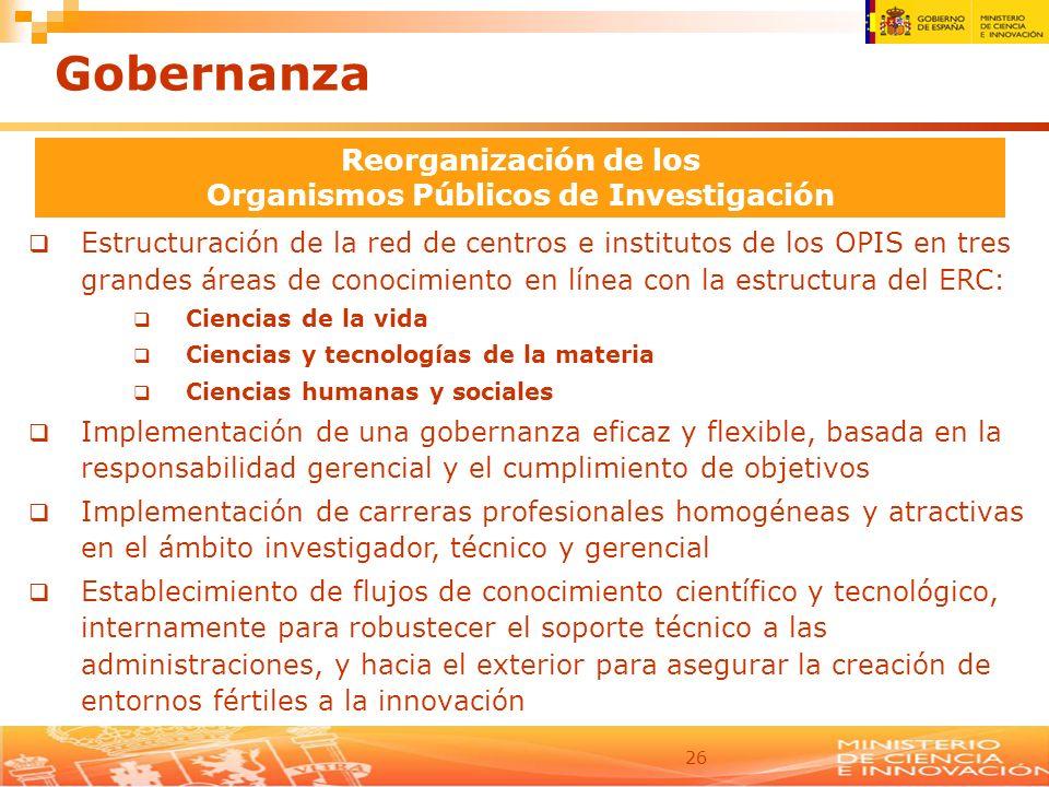 26 Estructuración de la red de centros e institutos de los OPIS en tres grandes áreas de conocimiento en línea con la estructura del ERC: Ciencias de