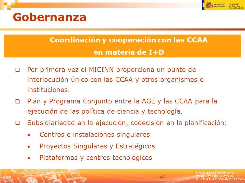 27 Por primera vez el MICINN proporciona un punto de interlocución único con las CCAA y otros organismos e instituciones. Plan y Programa Conjunto ent