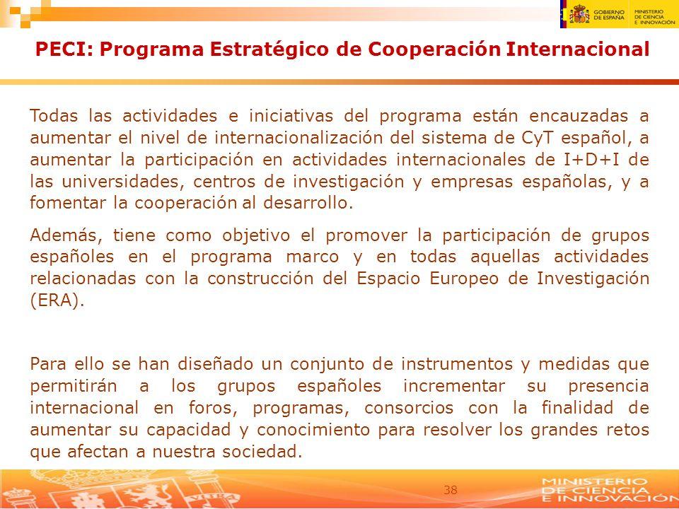 38 PECI: Programa Estratégico de Cooperación Internacional Todas las actividades e iniciativas del programa están encauzadas a aumentar el nivel de in