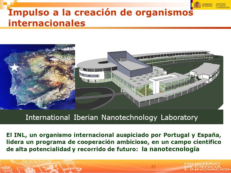 43 Impulso a la creación de organismos internacionales International Iberian Nanotechnology Laboratory El INL, un organismo internacional auspiciado p