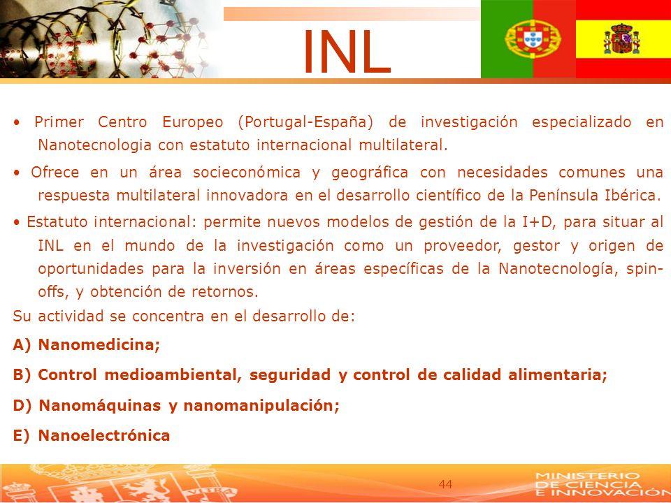 44 Primer Centro Europeo (Portugal-España) de investigación especializado en Nanotecnologia con estatuto internacional multilateral. Ofrece en un área