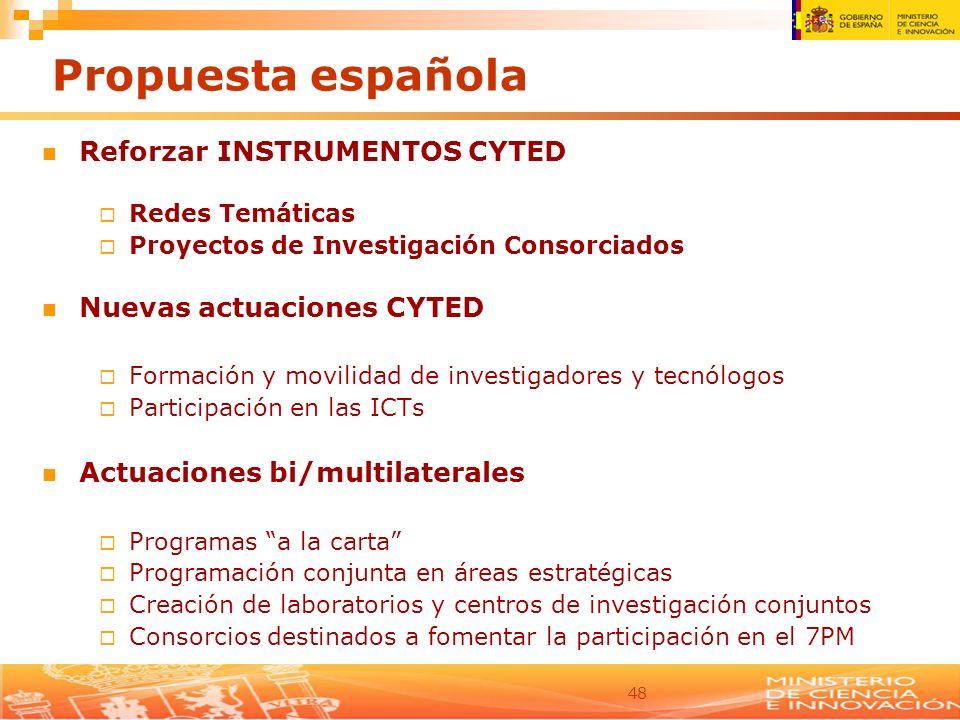 48 Propuesta española Reforzar INSTRUMENTOS CYTED Redes Temáticas Proyectos de Investigación Consorciados Nuevas actuaciones CYTED Formación y movilid
