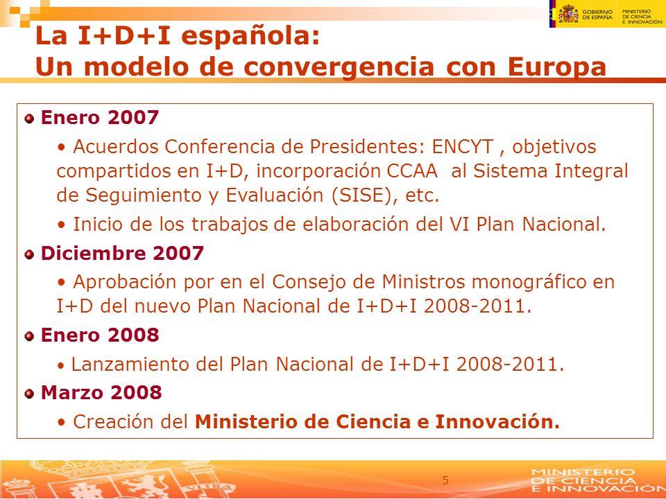5 Enero 2007 Acuerdos Conferencia de Presidentes: ENCYT, objetivos compartidos en I+D, incorporación CCAA al Sistema Integral de Seguimiento y Evaluac