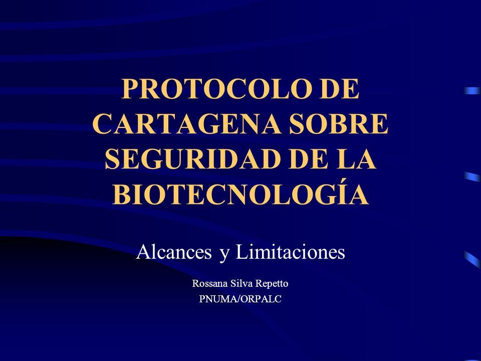 PROTOCOLO DE CARTAGENA SOBRE SEGURIDAD DE LA BIOTECNOLOGÍA Alcances y Limitaciones Rossana Silva Repetto PNUMA/ORPALC