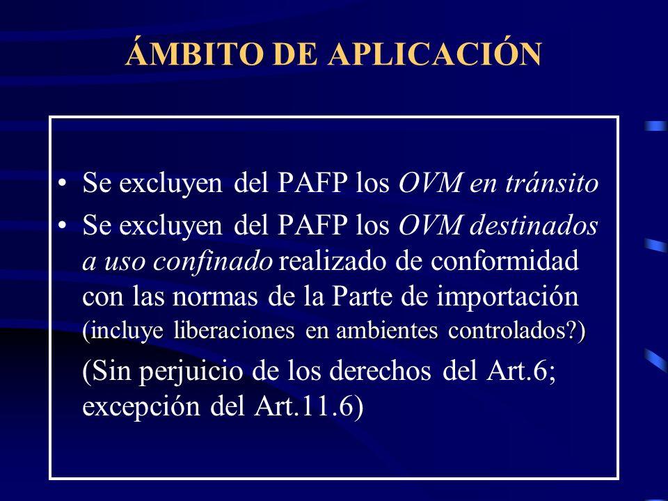 ÁMBITO DE APLICACIÓN Se excluyen del PAFP los OVM en tránsito incluye liberaciones en ambientes controlados?)Se excluyen del PAFP los OVM destinados a