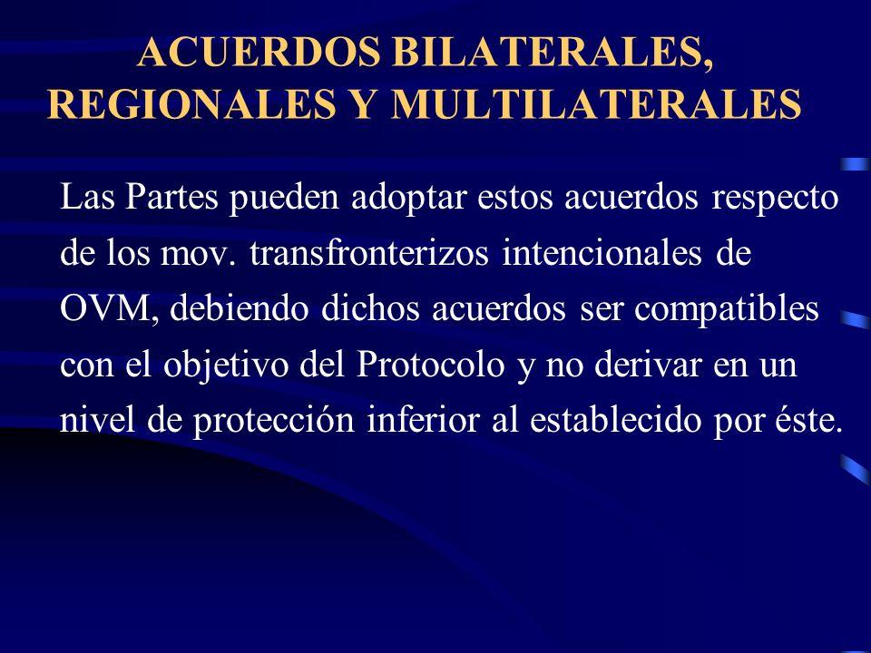 ACUERDOS BILATERALES, REGIONALES Y MULTILATERALES Las Partes pueden adoptar estos acuerdos respecto de los mov. transfronterizos intencionales de OVM,