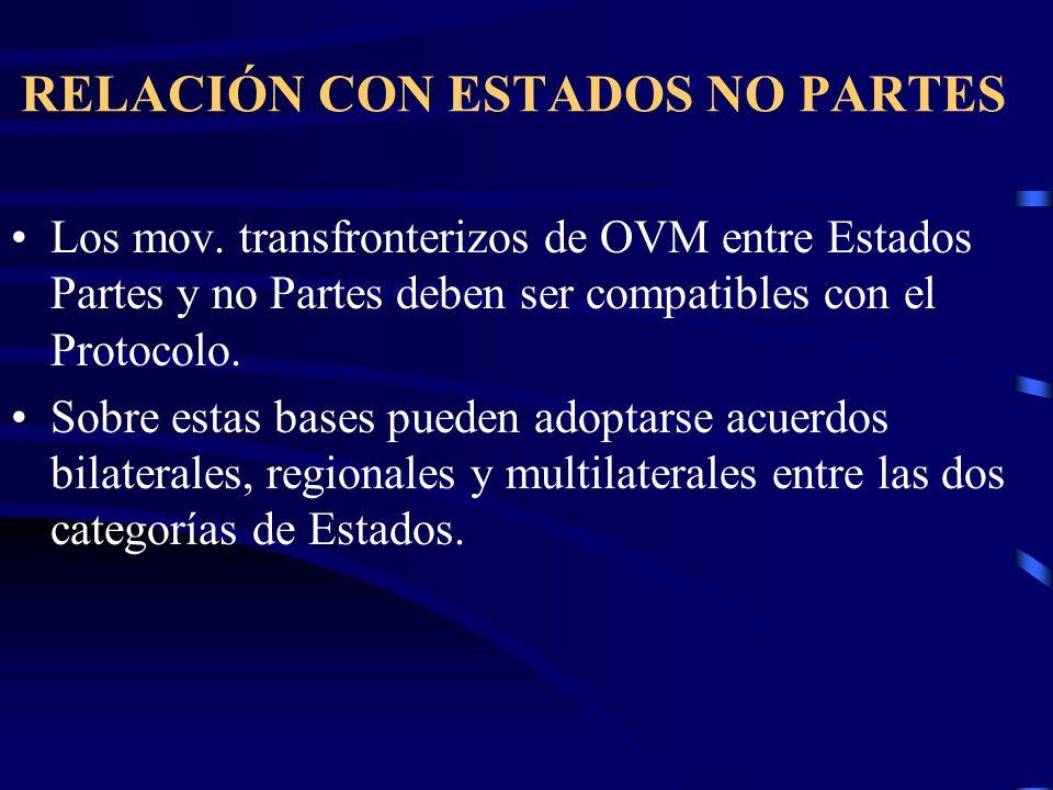 RELACIÓN CON ESTADOS NO PARTES Los mov. transfronterizos de OVM entre Estados Partes y no Partes deben ser compatibles con el Protocolo. Sobre estas b