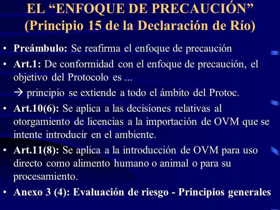 EL ENFOQUE DE PRECAUCIÓN (Principio 15 de la Declaración de Río) Preámbulo: Se reafirma el enfoque de precaución Art.1: De conformidad con el enfoque