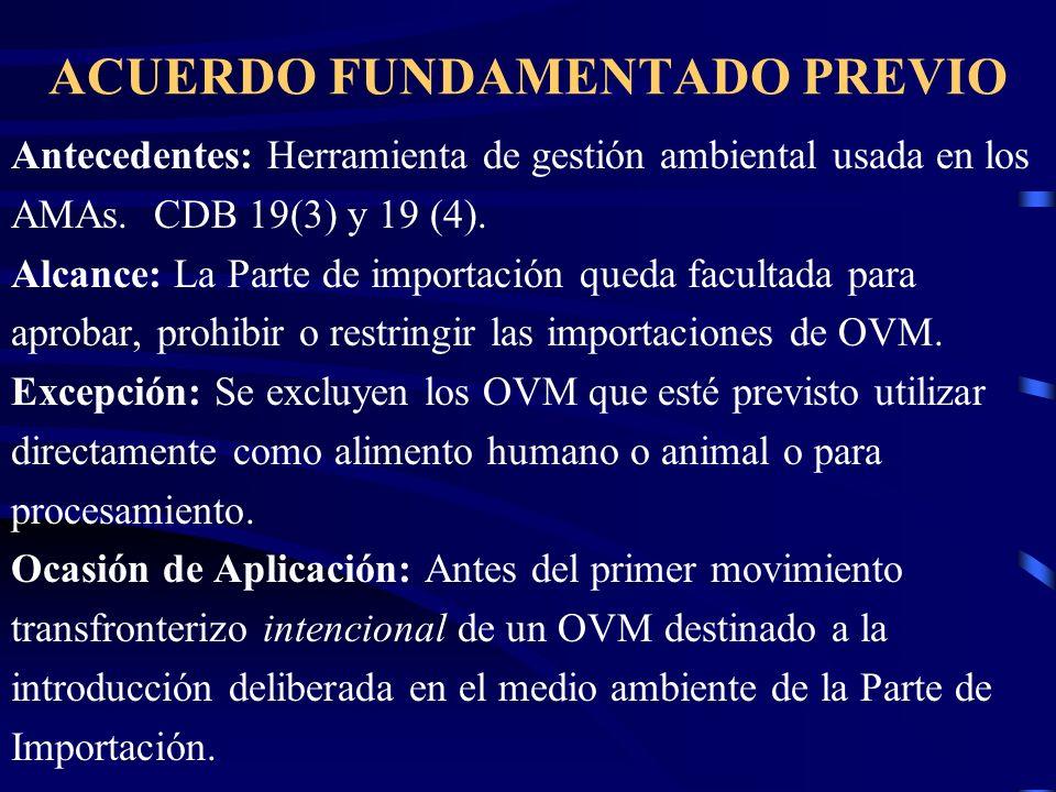 ACUERDO FUNDAMENTADO PREVIO Antecedentes: Herramienta de gestión ambiental usada en los AMAs. CDB 19(3) y 19 (4). Alcance: La Parte de importación que