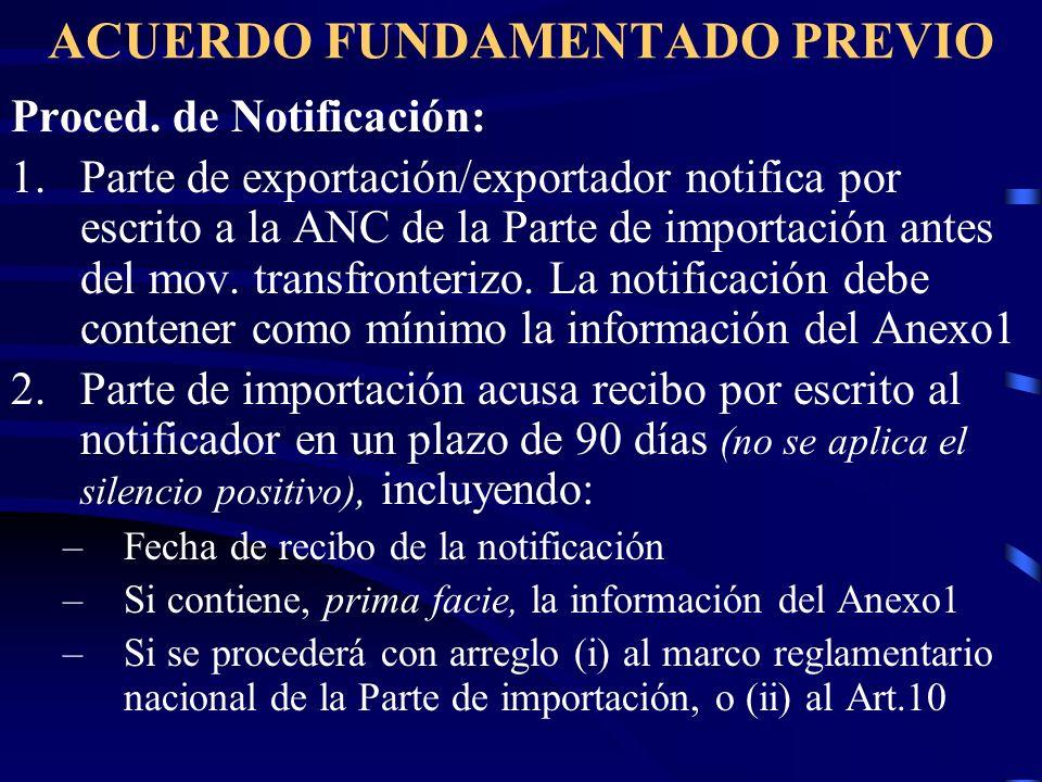 ACUERDO FUNDAMENTADO PREVIO Proced. de Notificación: 1.Parte de exportación/exportador notifica por escrito a la ANC de la Parte de importación antes