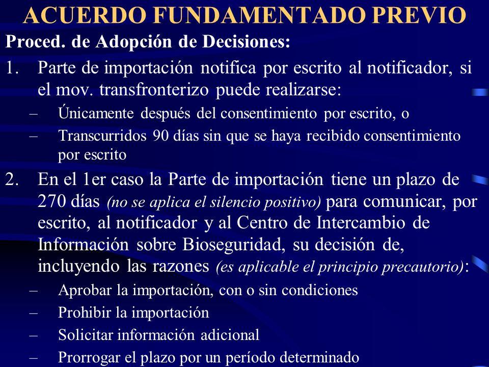 ACUERDO FUNDAMENTADO PREVIO Proced. de Adopción de Decisiones: 1.Parte de importación notifica por escrito al notificador, si el mov. transfronterizo