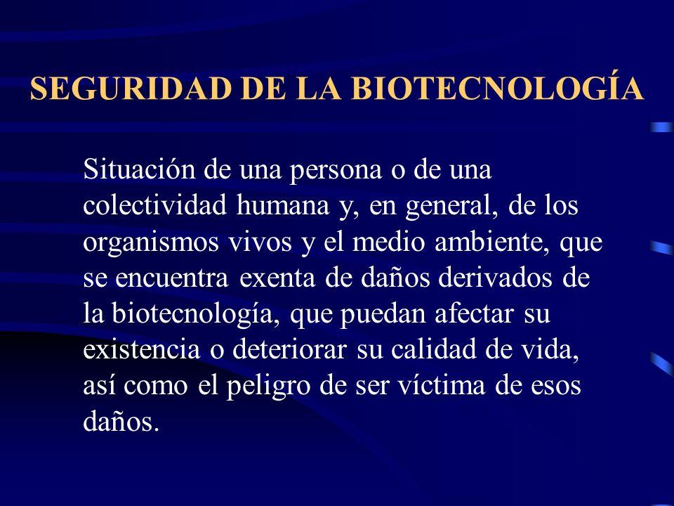SEGURIDAD DE LA BIOTECNOLOGÍA Situación de una persona o de una colectividad humana y, en general, de los organismos vivos y el medio ambiente, que se