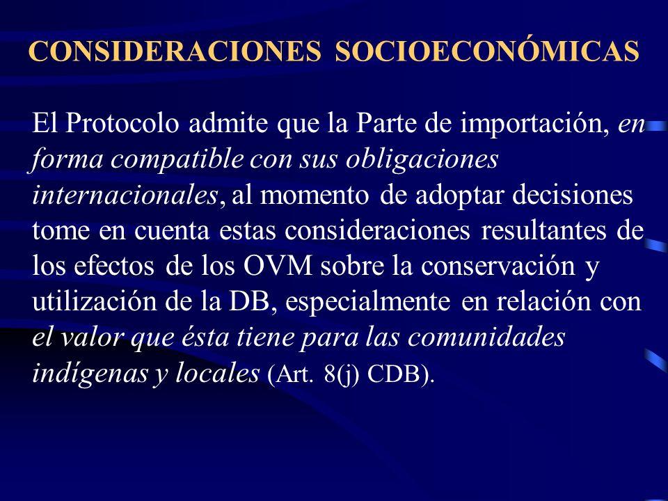 CONSIDERACIONES SOCIOECONÓMICAS El Protocolo admite que la Parte de importación, en forma compatible con sus obligaciones internacionales, al momento
