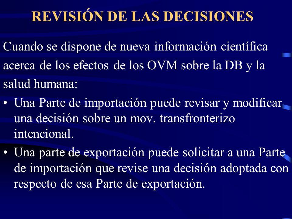 REVISIÓN DE LAS DECISIONES Cuando se dispone de nueva información científica acerca de los efectos de los OVM sobre la DB y la salud humana: Una Parte
