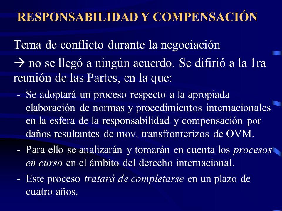 RESPONSABILIDAD Y COMPENSACIÓN Tema de conflicto durante la negociación no se llegó a ningún acuerdo. Se difirió a la 1ra reunión de las Partes, en la