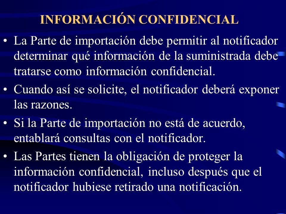 INFORMACIÓN CONFIDENCIAL La Parte de importación debe permitir al notificador determinar qué información de la suministrada debe tratarse como informa