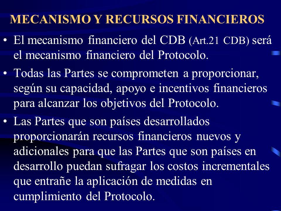 MECANISMO Y RECURSOS FINANCIEROS El mecanismo financiero del CDB (Art.21 CDB) será el mecanismo financiero del Protocolo. Todas las Partes se comprome
