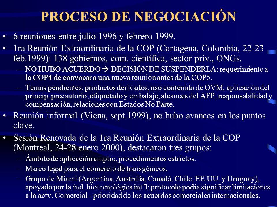PROCESO DE NEGOCIACIÓN 6 reuniones entre julio 1996 y febrero 1999. 1ra Reunión Extraordinaria de la COP (Cartagena, Colombia, 22-23 feb.1999): 138 go