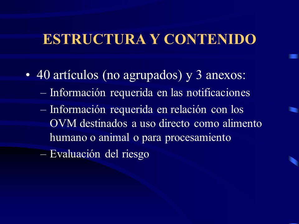 ESTRUCTURA Y CONTENIDO 40 artículos (no agrupados) y 3 anexos: –Información requerida en las notificaciones –Información requerida en relación con los