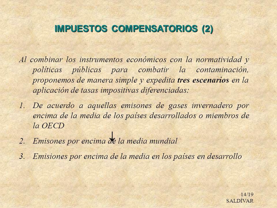 14/19 SALDÍVAR IMPUESTOS COMPENSATORIOS (2) Al combinar los instrumentos económicos con la normatividad y políticas públicas para combatir la contamin