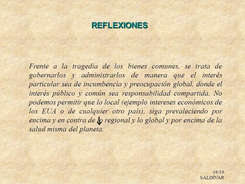 16/19 SALDÍVAR REFLEXIONES Frente a la tragedia de los bienes comunes, se trata de gobernarlos y administrarlos de manera que el interés particular se