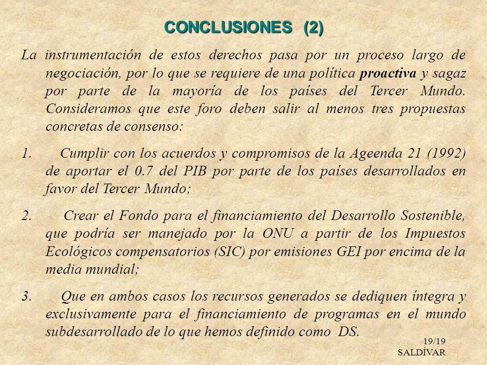 19/19 SALDÍVAR CONCLUSIONES (2) La instrumentación de estos derechos pasa por un proceso largo de negociación, por lo que se requiere de una política