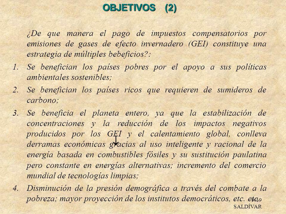 9/19 SALDÍVAR OBJETIVOS (2) ¿De que manera el pago de impuestos compensatorios por emisiones de gases de efecto invernadero (GEI) constituye una estra