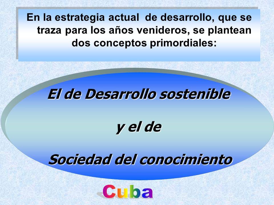 En la estrategia actual de desarrollo, que se traza para los años venideros, se plantean dos conceptos primordiales: El de Desarrollo sostenible y el