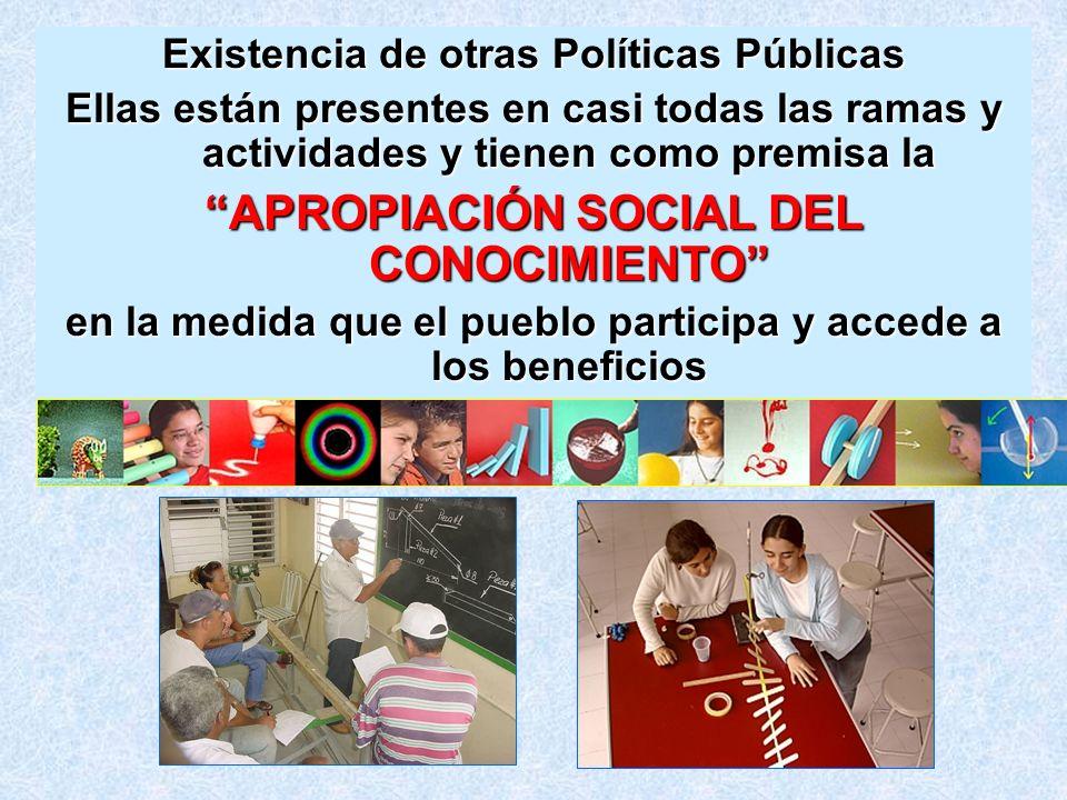Existencia de otras Políticas Públicas Ellas están presentes en casi todas las ramas y actividades y tienen como premisa la APROPIACIÓN SOCIAL DEL CON