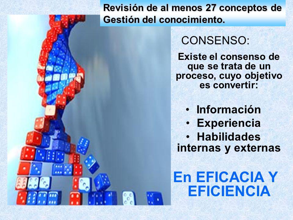 CONSENSO: Existe el consenso de que se trata de un proceso, cuyo objetivo es convertir: Información Experiencia Habilidades internas y externas En EFI