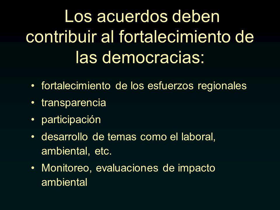 Los acuerdos deben contribuir al fortalecimiento de las democracias: fortalecimiento de los esfuerzos regionales transparencia participación desarrollo de temas como el laboral, ambiental, etc.