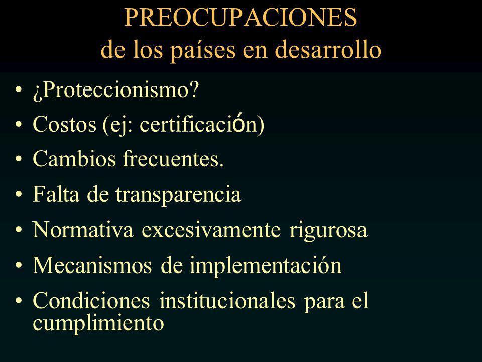 PREOCUPACIONES de los países en desarrollo ¿Proteccionismo.