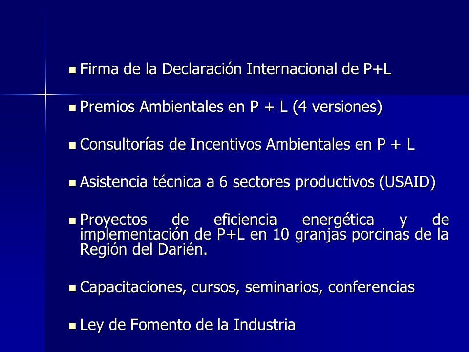 SECTOR ACADÉMICO Cursos, conferencias, tesis, seminarios, diplomados, maestrías Cursos, conferencias, tesis, seminarios, diplomados, maestrías Centro de Producción Más Limpia (enero 2004) (asistencia científico-técnico a la industria nacional y formar profesionales en el área de P+L) Centro de Producción Más Limpia (enero 2004) (asistencia científico-técnico a la industria nacional y formar profesionales en el área de P+L) Firma de la Declaración Internacional en P+L (3 universidades) Firma de la Declaración Internacional en P+L (3 universidades) Miembros del Comité Técnico Interinstitucional de P+L Miembros del Comité Técnico Interinstitucional de P+L Miembros del Comité Asesor del Proyecto de P+L Miembros del Comité Asesor del Proyecto de P+L Proyecto con la OEA desde 1992 (77 empresas capacitadas) Proyecto con la OEA desde 1992 (77 empresas capacitadas)