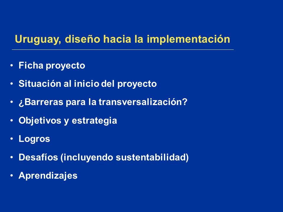 Uruguay, diseño hacia la implementación Ficha proyecto Situación al inicio del proyecto ¿Barreras para la transversalización? Objetivos y estrategia L