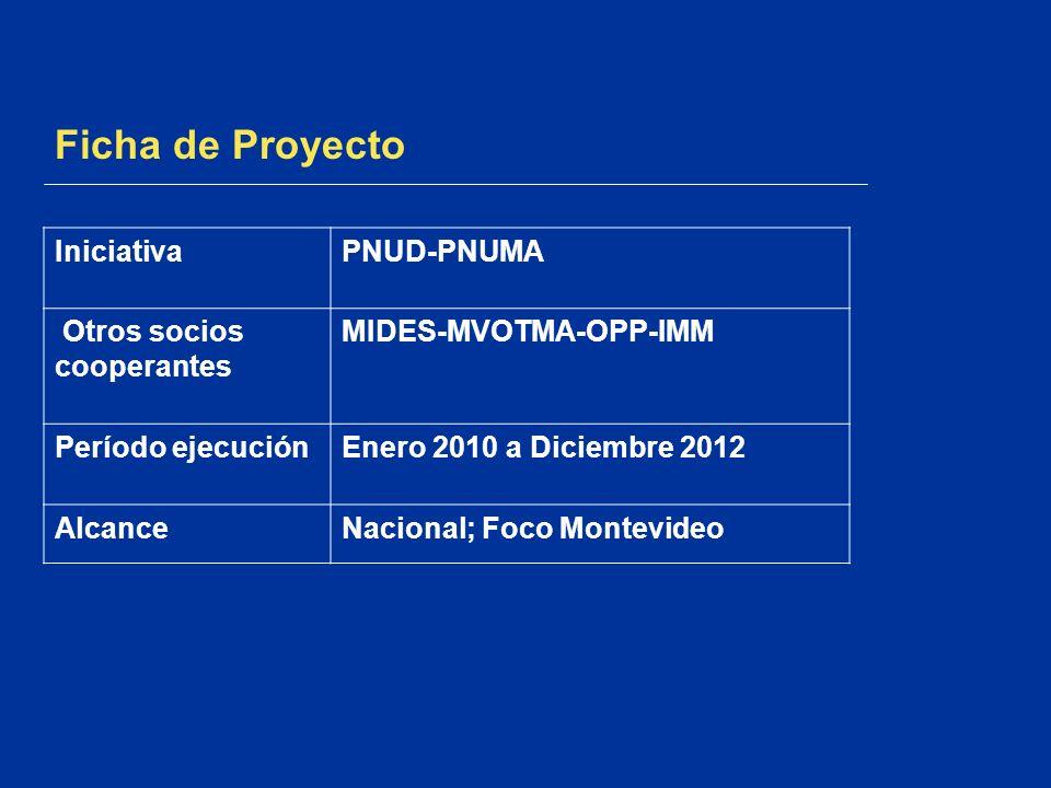 Ficha de Proyecto IniciativaPNUD-PNUMA Otros socios cooperantes MIDES-MVOTMA-OPP-IMM Período ejecuciónEnero 2010 a Diciembre 2012 AlcanceNacional; Foc