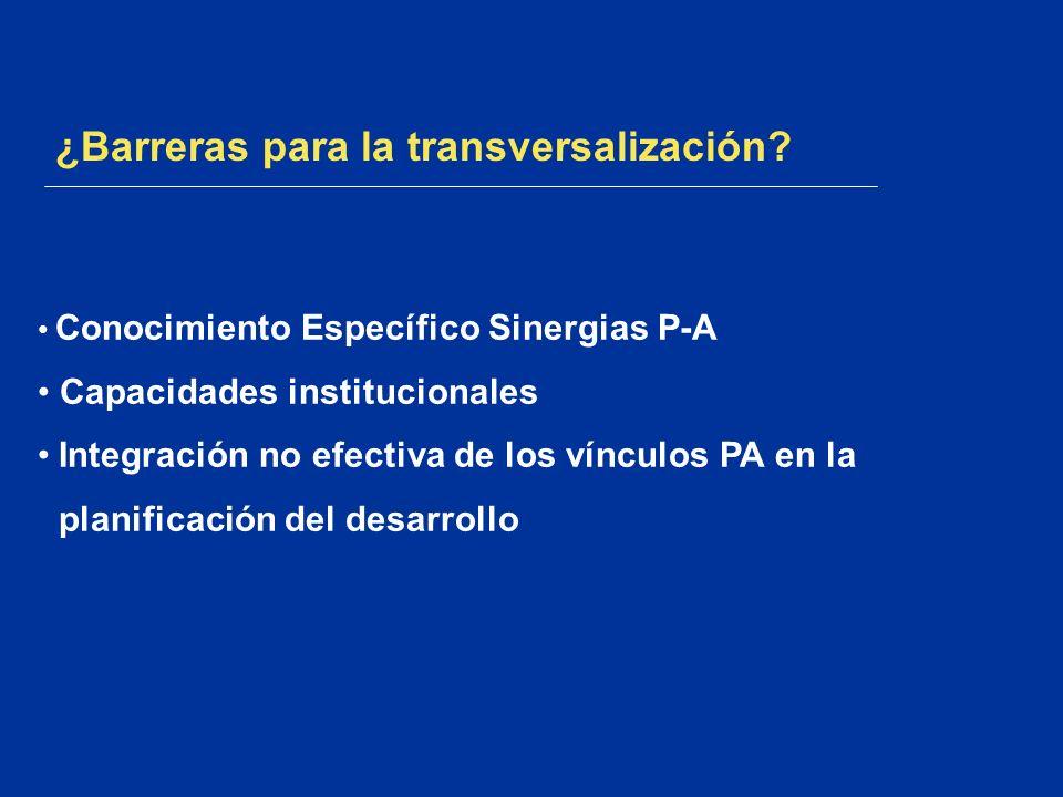 ¿Barreras para la transversalización? Conocimiento Específico Sinergias P-A Capacidades institucionales Integración no efectiva de los vínculos PA en