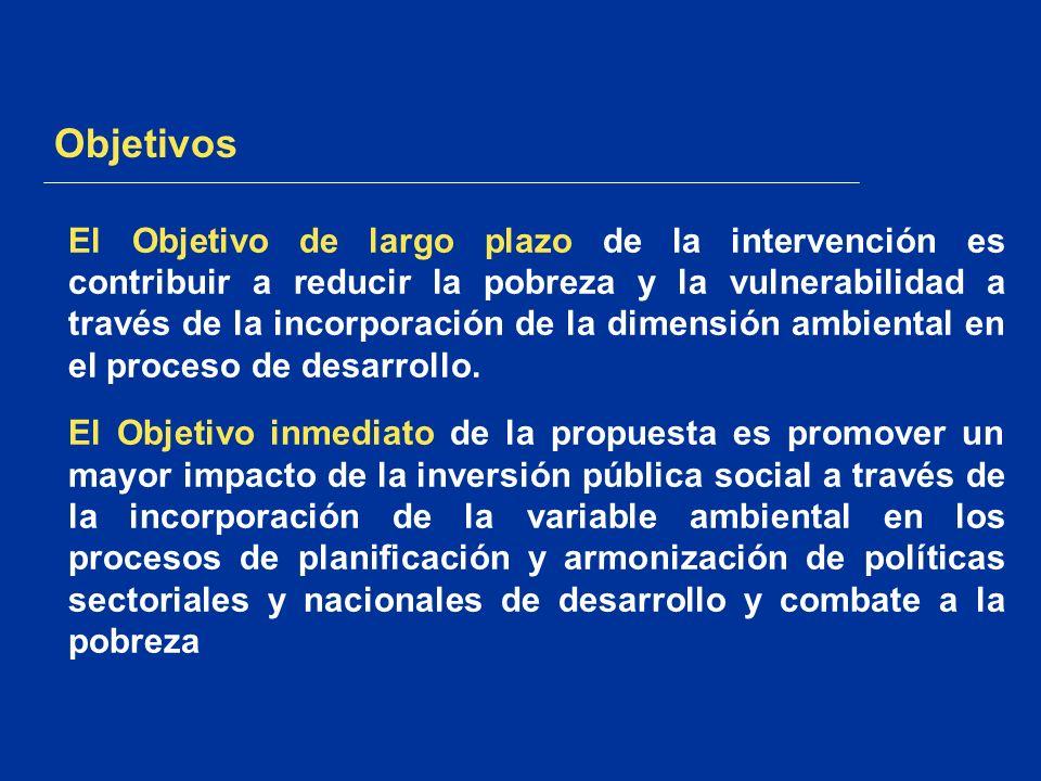 Objetivos El Objetivo de largo plazo de la intervención es contribuir a reducir la pobreza y la vulnerabilidad a través de la incorporación de la dime