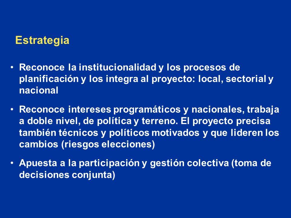 Reconoce la institucionalidad y los procesos de planificación y los integra al proyecto: local, sectorial y nacional Reconoce intereses programáticos