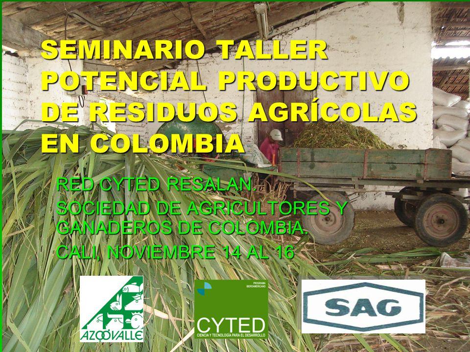 SEMINARIO TALLER POTENCIAL PRODUCTIVO DE RESIDUOS AGRÍCOLAS EN COLOMBIA RED CYTED RESALAN. SOCIEDAD DE AGRICULTORES Y GANADEROS DE COLOMBIA. CALI, NOV