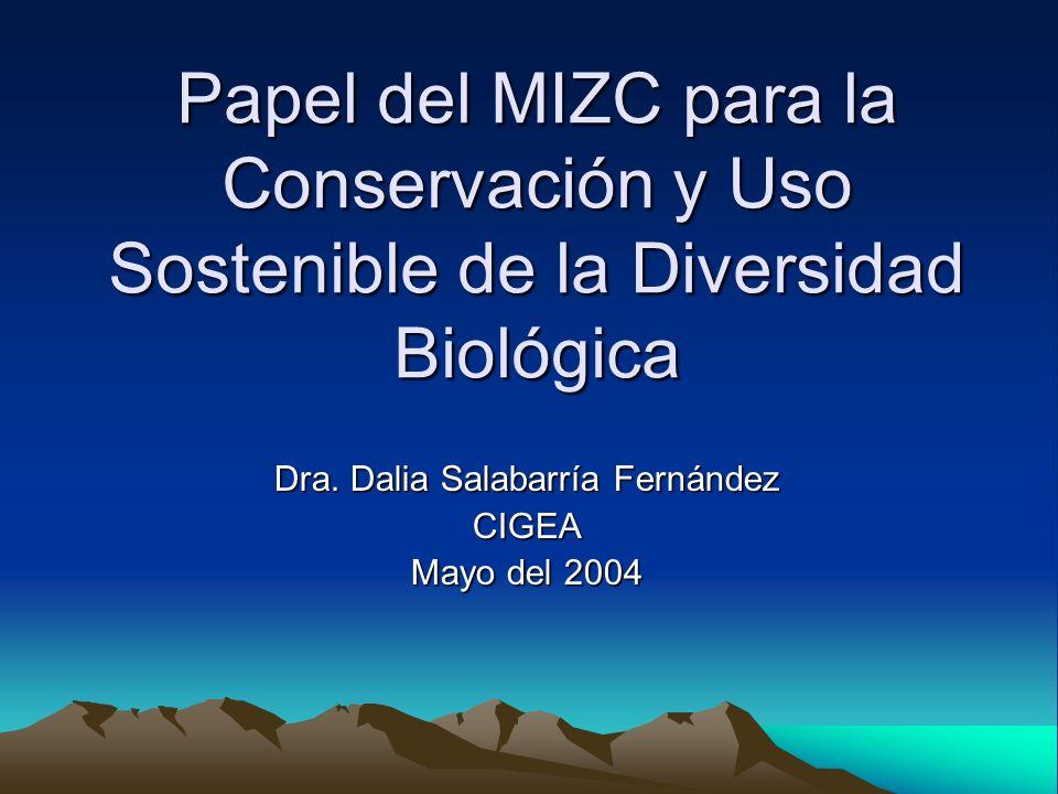 Papel del MIZC para la Conservación y Uso Sostenible de la Diversidad Biológica Dra. Dalia Salabarría Fernández CIGEA Mayo del 2004
