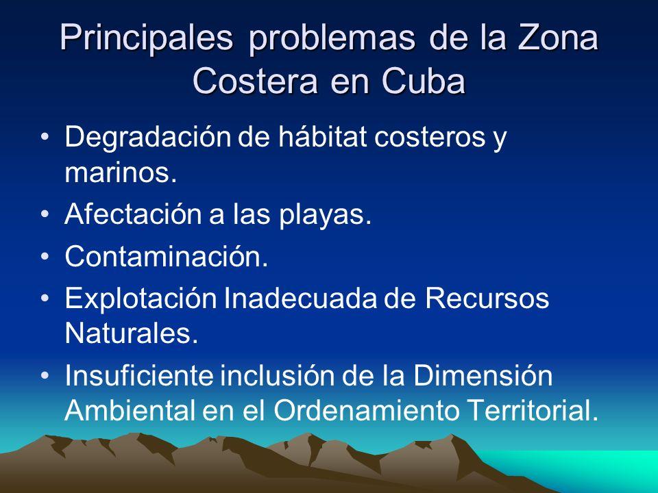 Principales problemas de la Zona Costera en Cuba Degradación de hábitat costeros y marinos. Afectación a las playas. Contaminación. Explotación Inadec