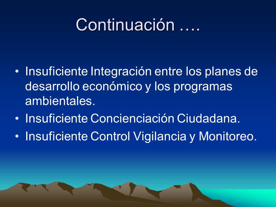 Continuación …. Insuficiente Integración entre los planes de desarrollo económico y los programas ambientales. Insuficiente Concienciación Ciudadana.