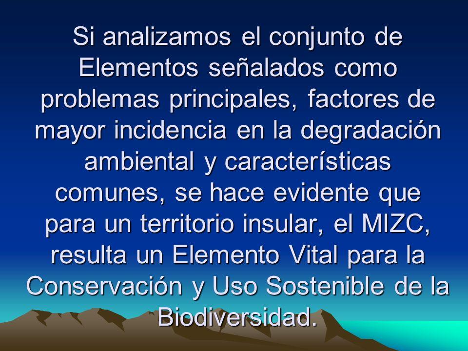 Si analizamos el conjunto de Elementos señalados como problemas principales, factores de mayor incidencia en la degradación ambiental y característica